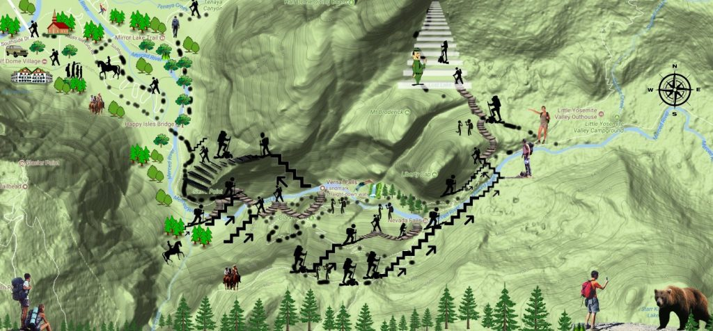 VERNAL FALL hiking trail map