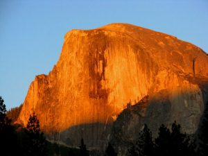 half dome sunset from yosemite valley