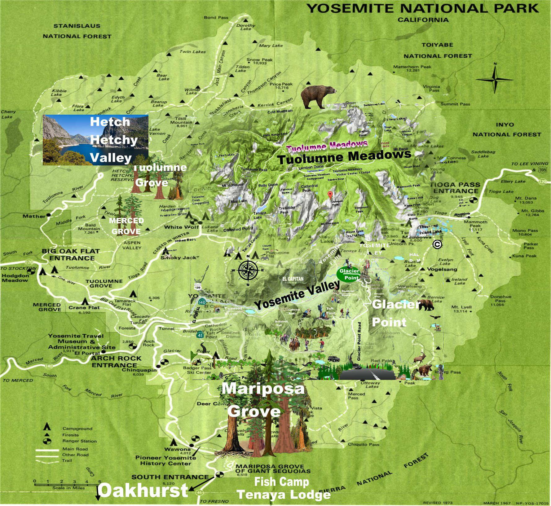 mapa de Yosemite map