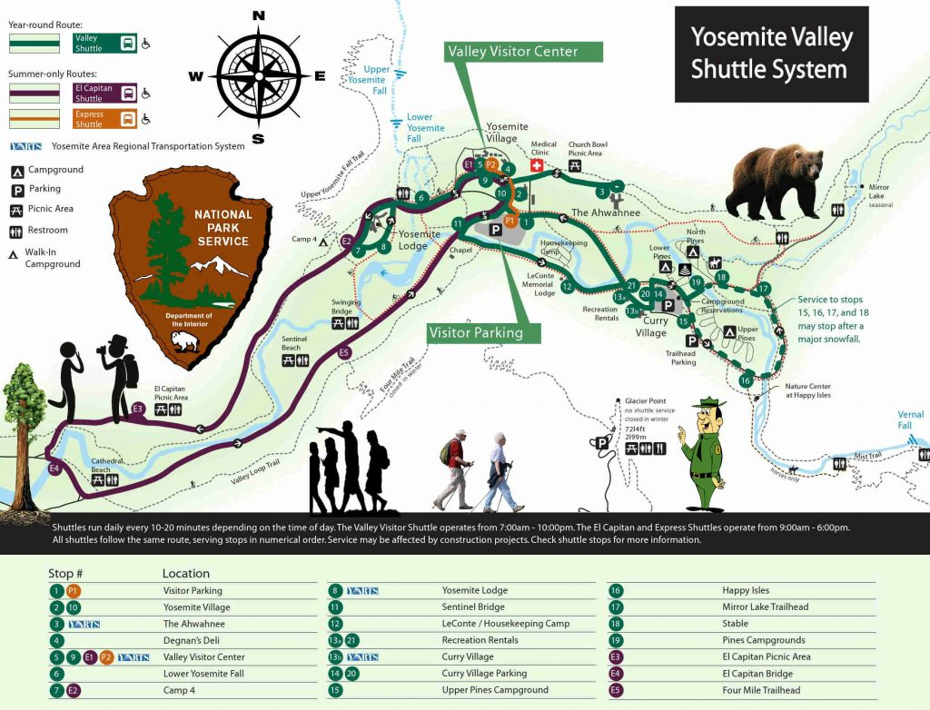 transportation yosemite valley shuttle bus map